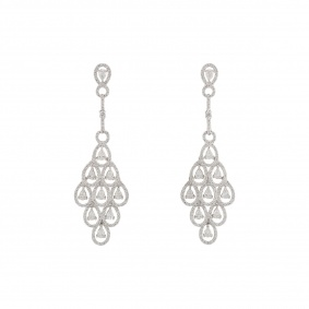 White Gold Diamond Chandelier Motif Diamond Drop Earrings